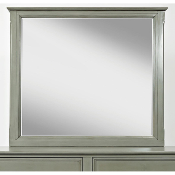 Contemporary Style Wooden Framed Mirror, Gray