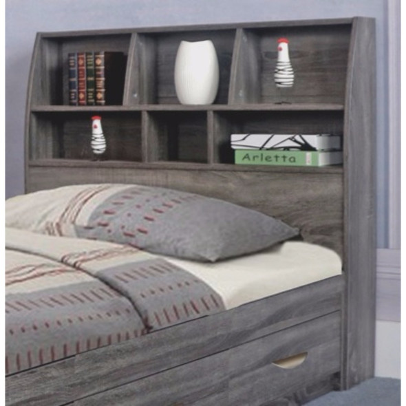 Contemporary Style Gray Finish Twin Size Bookcase Headboard With Six Shelves