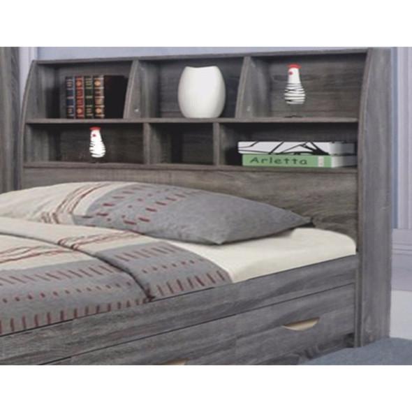 Elegant Grey Finish Full Size Bookcase Headboard With Six Shelves
