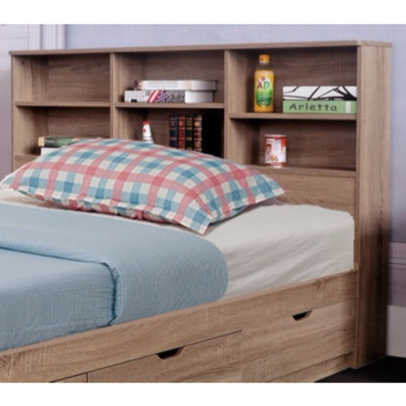 Elegant Brown Finish Full Size Bookcase Headboard With 6 Shelves