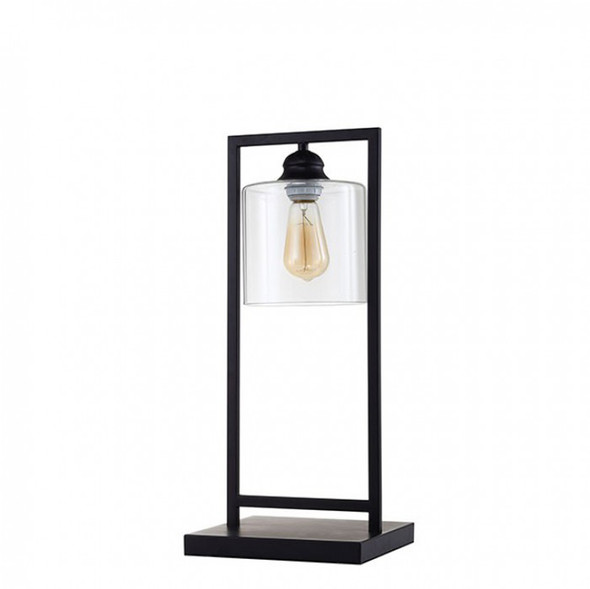 Contemporary Table Lamp Metal With Glass, Black