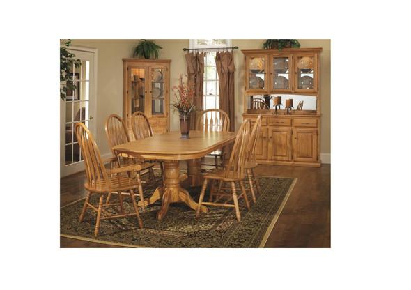 "42"" X 84"" X 30"" Harvest Oak Hardwood Double Pedestal Table"