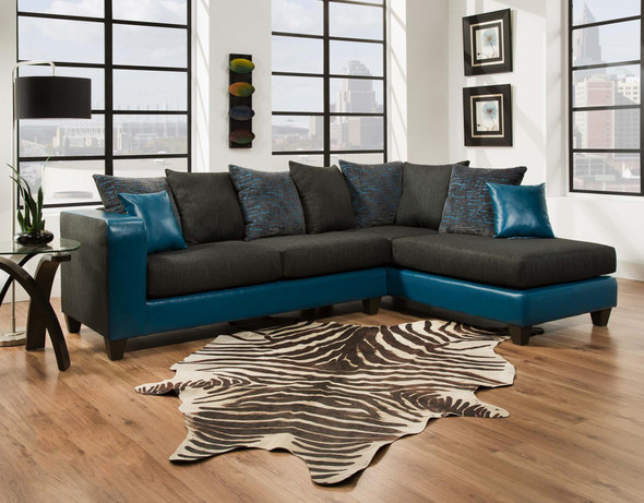 "107"" X 76"" X 37"" Tampa Teal 100% Polyester / 100% PU (polyurethane) Sectional"