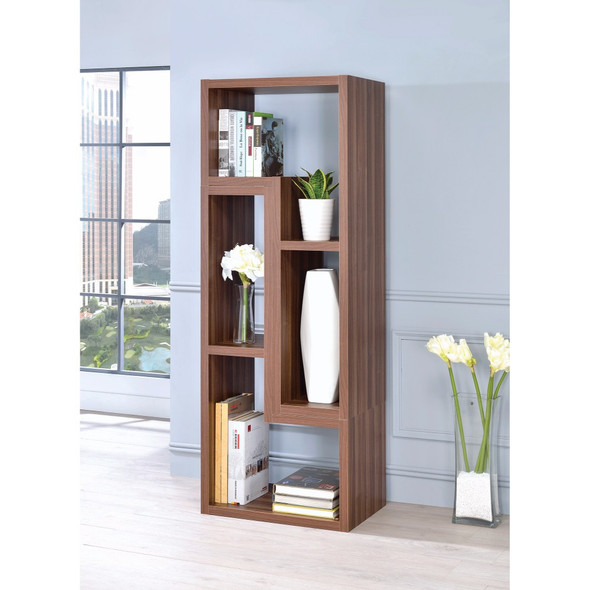 Contemporary Style Wooden Bookcase, Brown