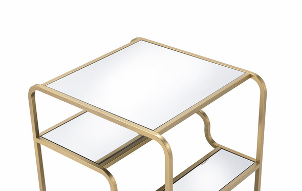 """28"""" X 24"""" X 23"""" Gold And Clear Glass End Table"""