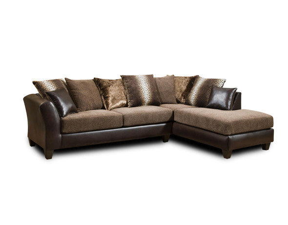 "109"" X 77"" X 37"" Dundee Brown Kali Mocha 100% Polyester Sectional"