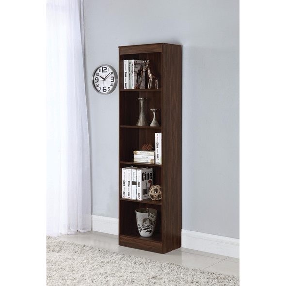 5 Shelf Narrow Transitional Bookcase, Brown