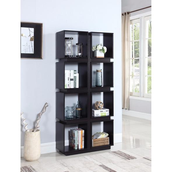 Contemporary Geometrically Designed Bookcase, Brown