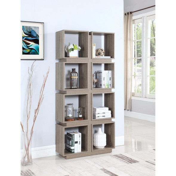 Geometrically Designed Bookcase With 8 Shelves, Brown