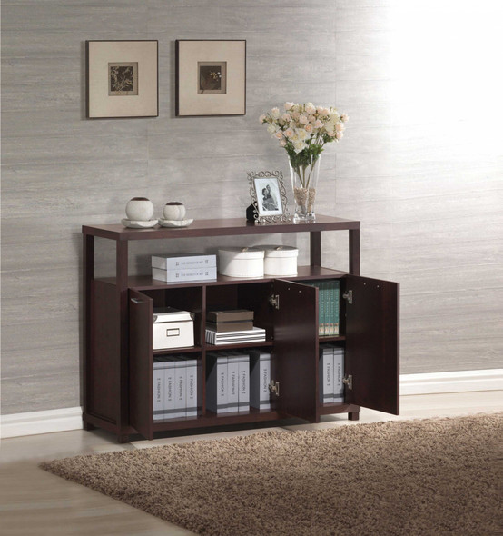 Console Table with Open Compartment and Shelves, Espresso