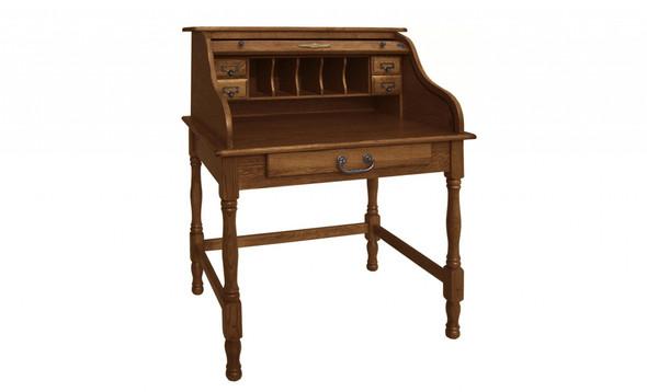 """32"""" X 24"""" X 44.5"""" Burnished Walnut Hardwood Mini Roll Top Desk"""