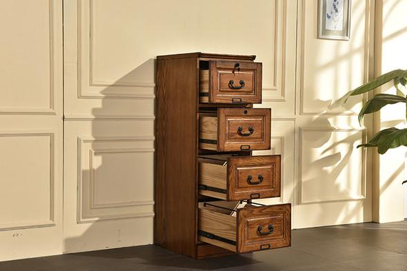 "18.5"" X 22"" X 54"" Burnished Walnut Hardwood Four Drawer File Cabinet"