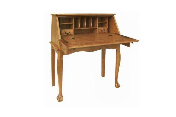 "32.5"" X 16.75"" X 41.5"" Harvest Oak Hardwood Secretary Drop Leaf Desk"