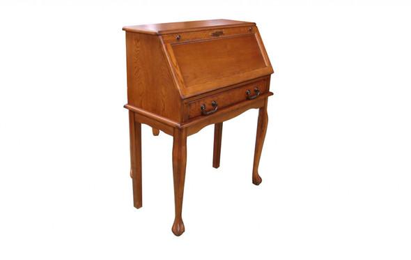 "32.5"" X 16.75"" X 41.5"" Burnished Walnut Hardwood Secretary Drop Leaf Desk"