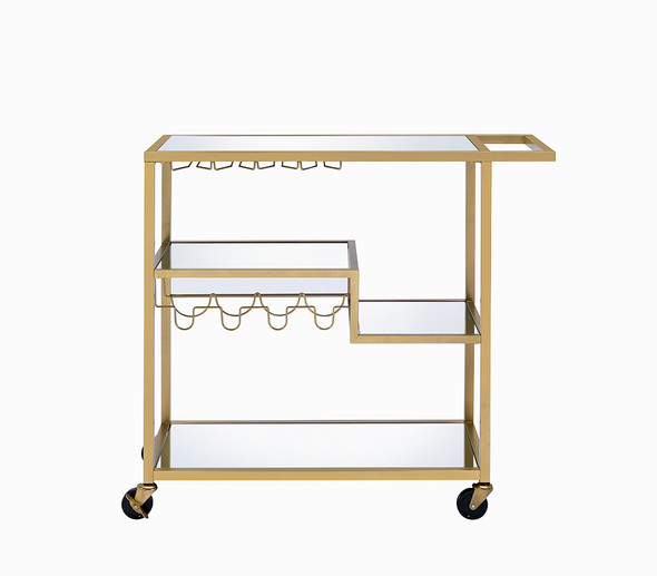 """40"""" X 16"""" X 37"""" Gold And Clear Glass Serving Cart"""