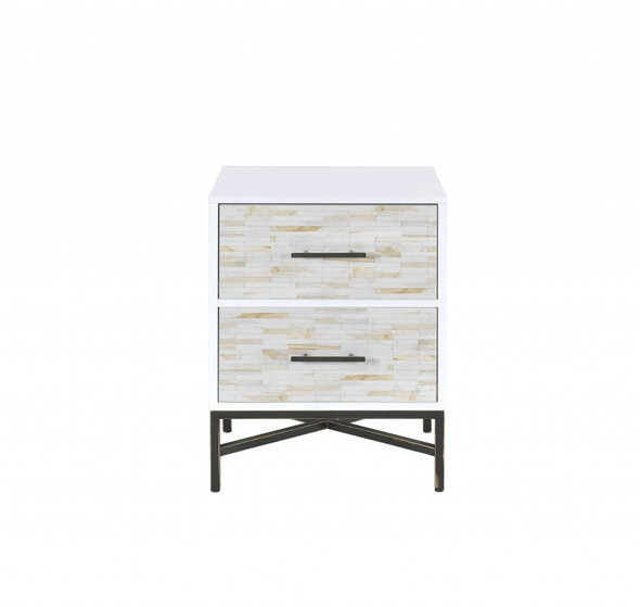 """20"""" X 18"""" X 26"""" White And Black Wooden Nightstand"""