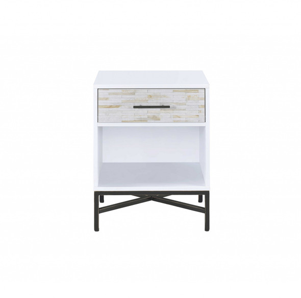 """20"""" X 18"""" X 26"""" White And Black Wooden Nightstand - 319110"""