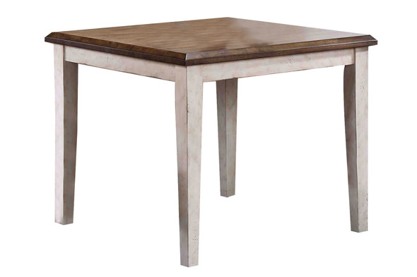 """36"""" X 36"""" X 30"""" Walnut Antique White Finish Rubberwood Hardwood Square Table"""