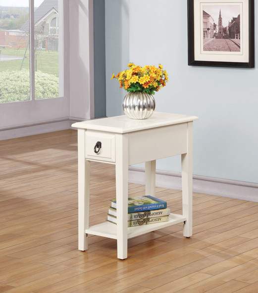"""12"""" X 22"""" X 23"""" White Rubber Wood Side Table"""