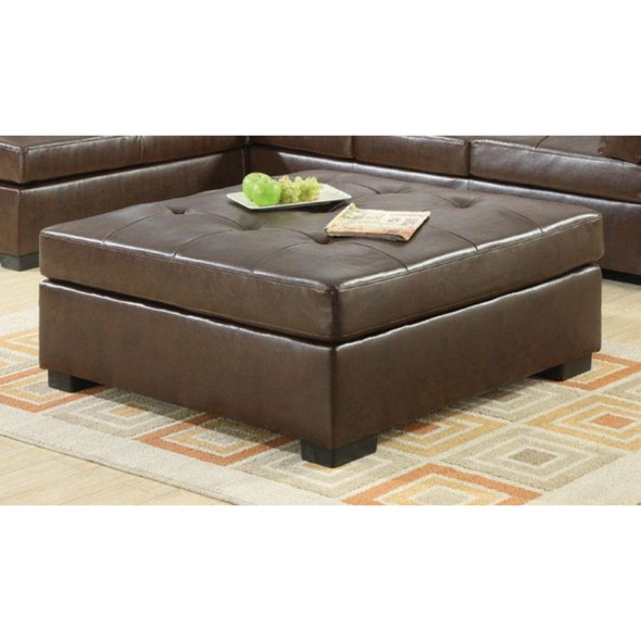 Ottoman With Tufted Seat, Brown