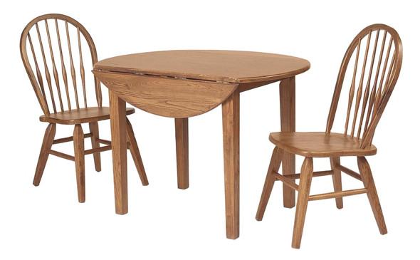 "42"" X 42"" X 30"" Harvest Oak Hardwood Fruitwood Drop Leaf Round Table"