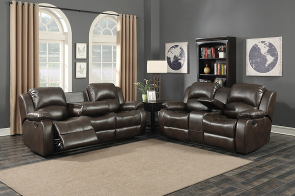 Dark Brown 2 Piece Reclining Sofa and Loveseat With Storage Console Set