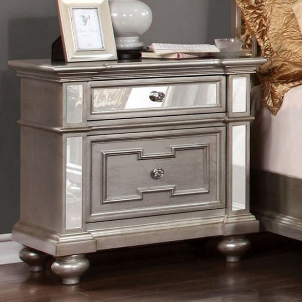 Contemporary Night Stand In Silver