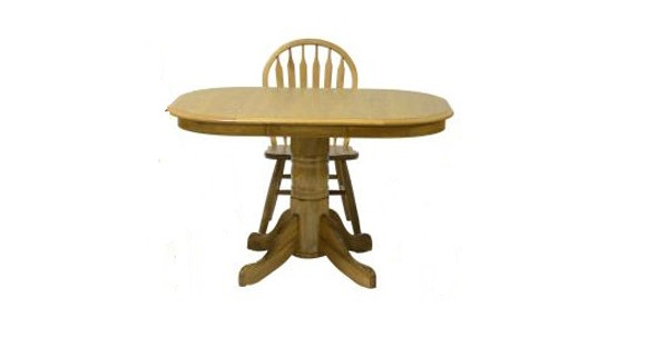 "36"" X 48"" X 30"" Harvest Oak Hardwood High Pedestal Table"