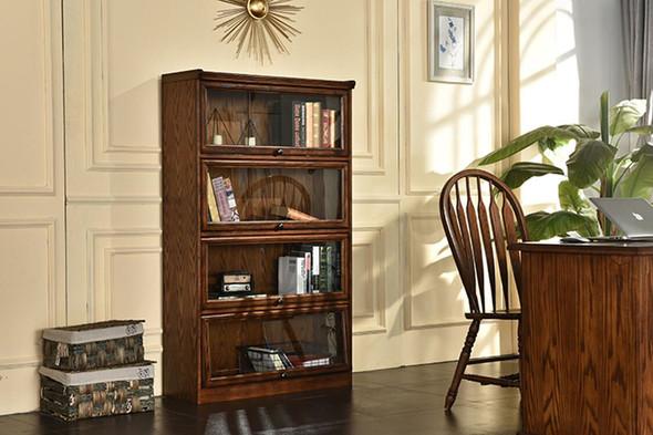 """36"""" X 13"""" X 59.25"""" Burnished Walnut Hardwood Bookcase"""