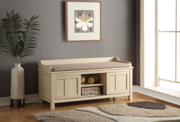"""45"""" X 17"""" X 21"""" Fabric And Cream Bench With Storage"""