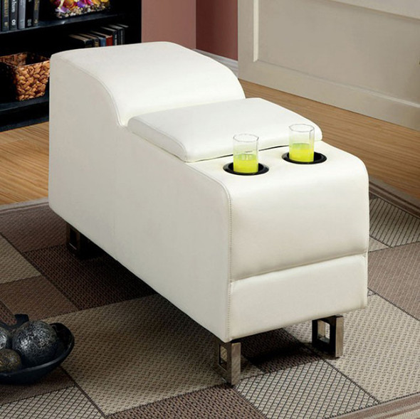 Console In White Bonded Leather