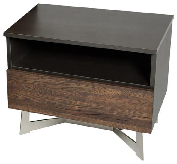 """20"""" Dark Aged Oak Veneer, Steel, and Wood Nightstand"""