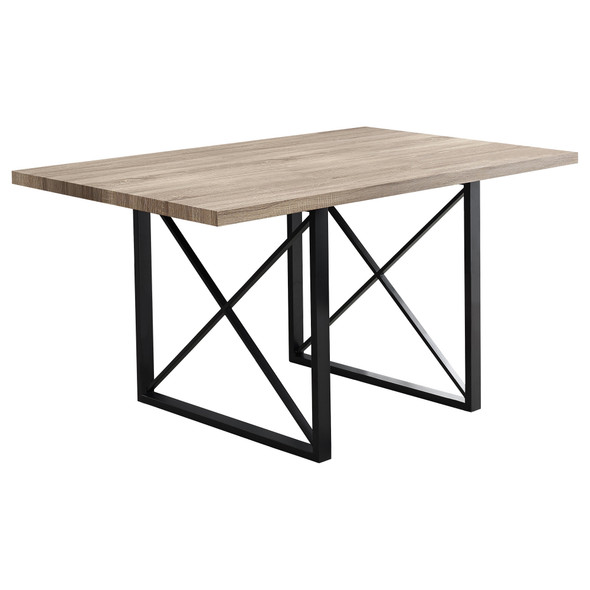 "36"" x 60"" x 30"" Dark Taupe, Black, Hollow-Core, Particle Board, Metal - Dining Table"