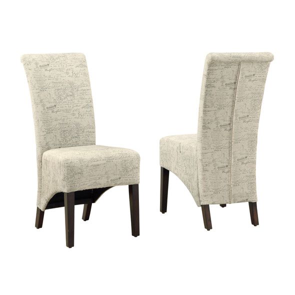 "46"" x 38"" x 81"" Beige, Cappuccino, Foam, Particle Board, Solid Wood, Linen - Dining Chairs 2pcs"