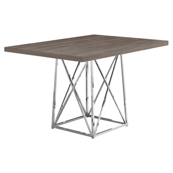 "36"" x 48"" 31"" Dark Taupe, Particle Board ad Chrome Metal - Dining Table"
