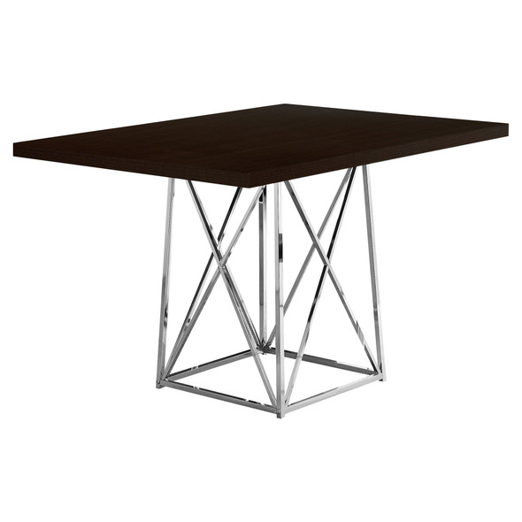"36"" x 48"" 31"" Cappuccino, Particle Board ad Chrome Metal - Dining Table"