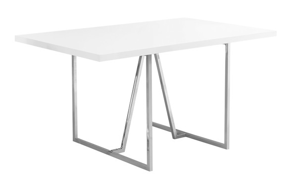 "36"" x 60"" x 30"" White, Hollow-Core, Particle Board, Metal - Dining Table - 332592"