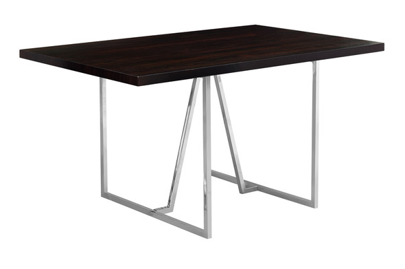 "36"" x 60"" x 30"" Cappuccino, Hollow-Core, Particle Board, Metal - Dining Table"