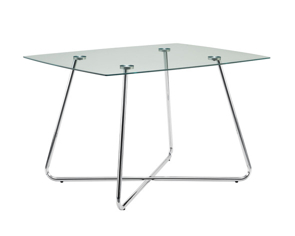 """30"""" Chrome Metal and Clear Tempered Glass Dining Table"""