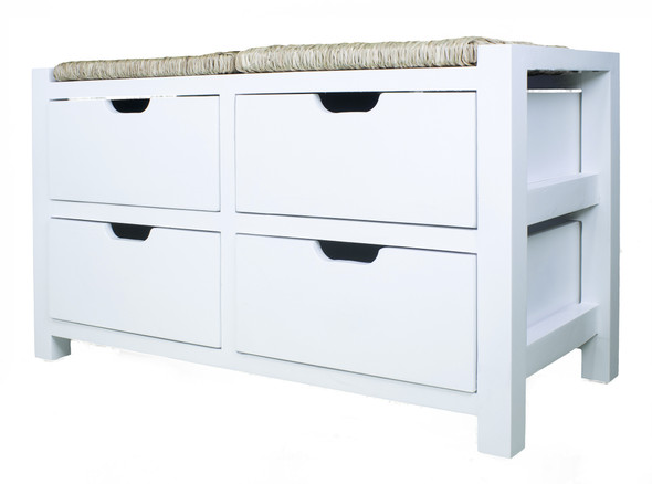 """20"""" White Wood Bench with 4 Drawers and a Seagrass Top"""