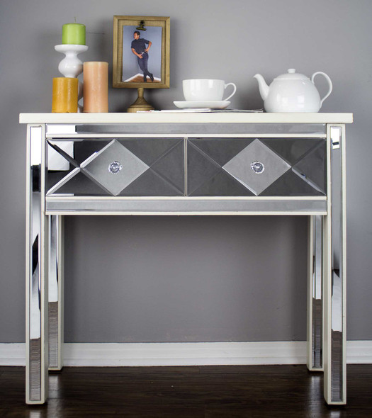 white mirrored console table