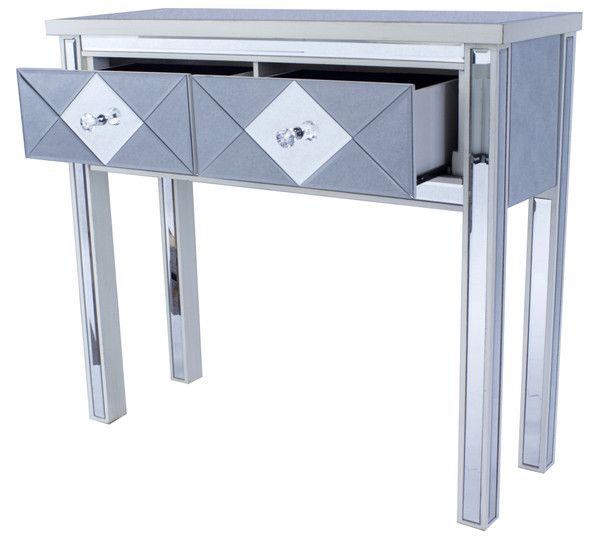 """Checkout the 22"""" Antique reflections white mirrored console table set"""