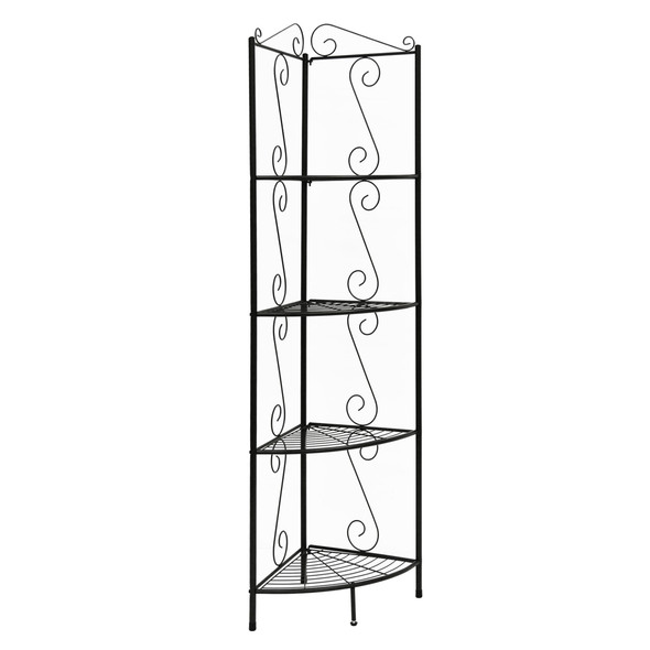 "15"" x 22.5"" x 70"" Brown, Metal, Corner Shelf - Bookcase"