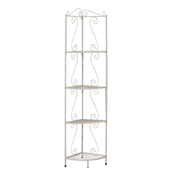"15"" x 22.5"" x 70"" White, Metal, Corner Shelf - Bookcase"