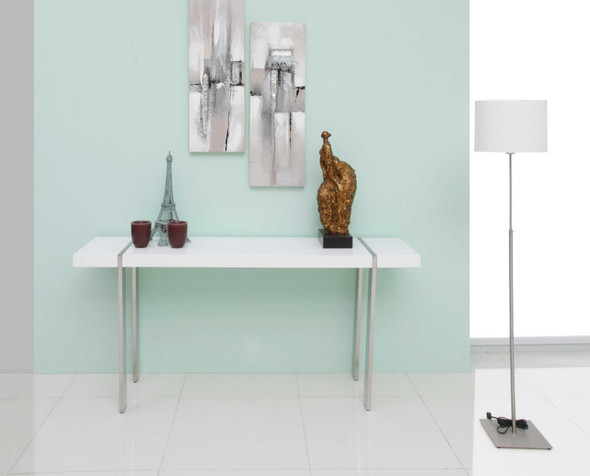 Console High Gloss White Polished Stainless Steel Legs.
