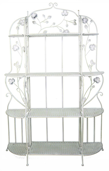 Antique White Bakers Rack with 4 Shelves