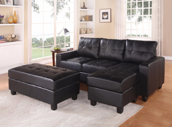 Sectional Sofa With Ottoman, 3 Piece Set, Black