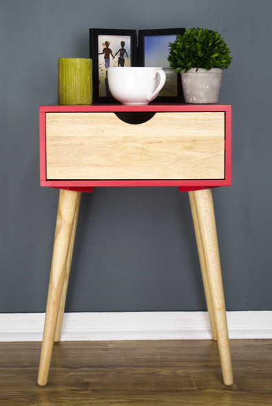 "24"" Red End Table with 1 Drawer"