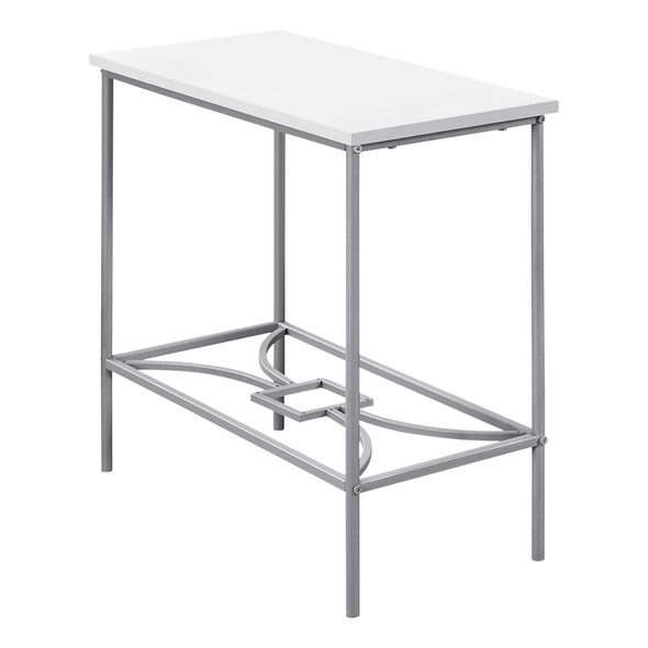 """11.75"""" x 23.75"""" x 22"""" White, Silver, Mdf, Metal - Accent Table"""