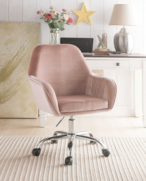 Adjustable Velvet Upholstered Swivel Office Chair with Slopped Armrests, Beige and Silver